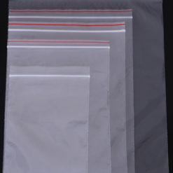 Transparent plastic zip/ziplock bag with colorful line